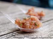 semplice veloce ricetta preparare ottimo crudo pesce: tartare palamita cipollina olio sesamo sale rosso
