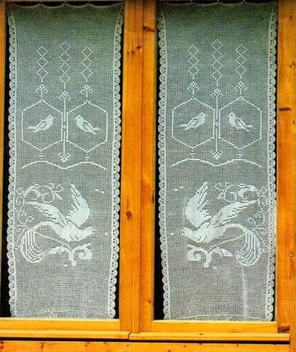 Schema per il filet: Tendine a vetro con uccellini - Paperblog