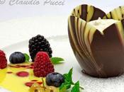 Tulipano cioccolato semifreddo pesca salsa vaniglia frutti bosco