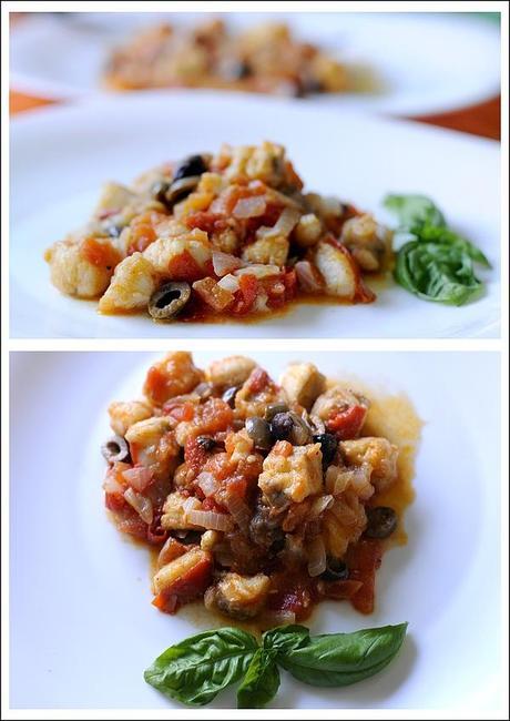 Coda di rospo rana pescatrice con pomodori e olive for Cucinare rana pescatrice