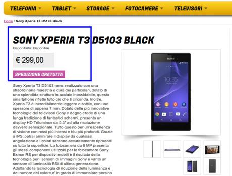 Sony Xperia T3 D5103 Black Gli Stockisti Smartphone cellulari tablet accessori telefonia dual sim e tanto altro 600x456 Sony Xperia T3 in offerta a 299 euro da Glistockisti.it smartphone  sony xperia t3