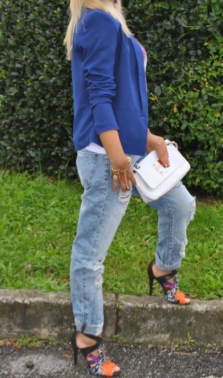 Outfit blue blazer and boyfriend jeans paperblog - Pimkie boyfriend jeans ...
