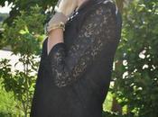 Black lace dress emerald accessories