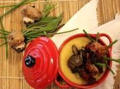 Zuppa patate salsa spagnola, funghi pancetta croccante