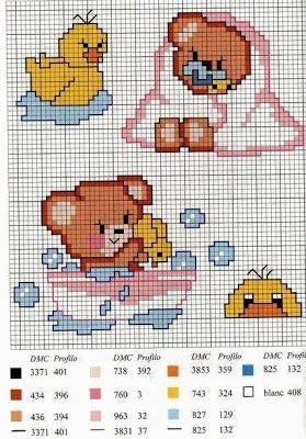 Raccolta di schemi con orsetti per biancheria neonato - Schemi punto croce bagno ...