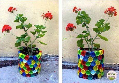 Herreria idee Balcone : 89 ? Vaso di fiori. Con anche fiori riciclosi fatti con bottiglie di ...