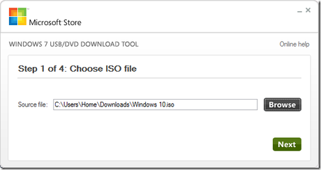 USB-DVD Download Tool - Windows 10 - 1