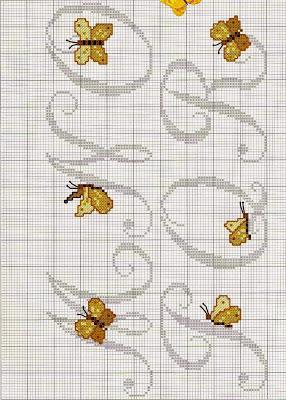 Lettere alfabeto con farfalle a punto croce paperblog for Farfalle punto a croce
