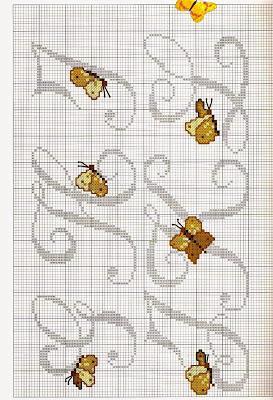Lettere alfabeto con farfalle a punto croce paperblog for Farfalle a punto croce per bambini