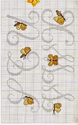 Lettere alfabeto con farfalle a punto croce paperblog for Farfalle da ricamare