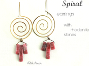 Brass spiral earrings with pink rhodonite stones {Spirit Earth collection}
