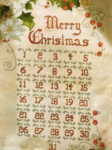 Calendario Dellavvento Punto Croce.Schemi Per Il Punto Croce Pannello Calendario Di Natale