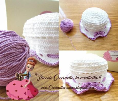 Cappellino Cotone Bimba Bianco E Lilla Realizzato A Uncinetto E A
