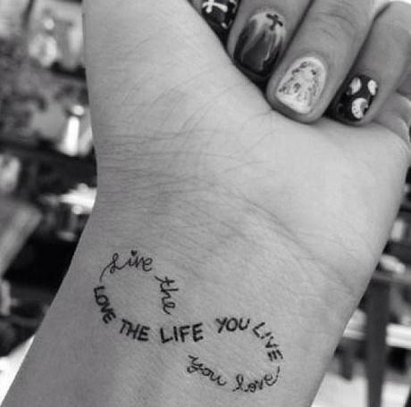 infinity meaningful love tattoo quote on wrist - love the life you live-f92410