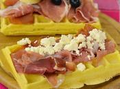 Waffle salati prosciutto crudo, feta olive