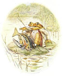 The fish, practically in the frog's lap, is jumping back into the water.