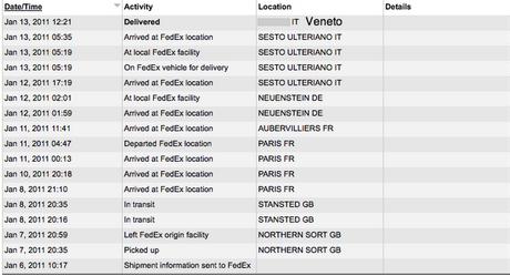 Il viaggio di un pacco Elf (metodi spedizione, 3 e-mail, tracking FedEx)