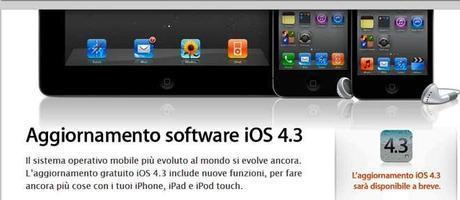 Apple: iOS 4.3 disponibile a breve