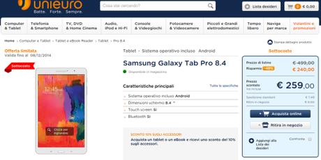 Tablet Samsung Galaxy Tab Pro 8.4 in offerta su Unieuro Promozione Samsung: compri Galaxy Tab S o Galaxy Tab Pro, in regalo un anno di Infinity