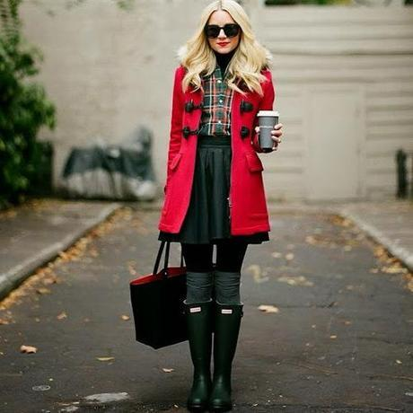 blogger outfit red tartan