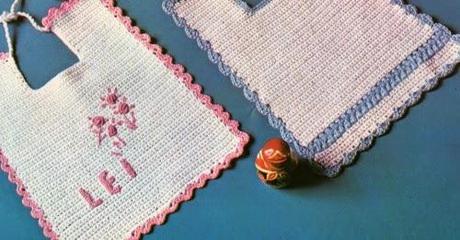 Lavori Con Luncinetto Bavaglini Azzurro E Rosa Per Un Lui E Per