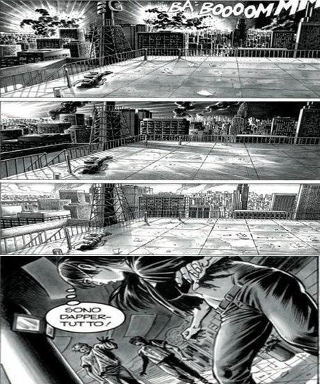 Le prime tre vignette in alto rappresentano la sequenza a camera fissa. L'ultima vignetta in basso è un esempio dell'effetto ondeggiamento con taglio diagonale dell'inquadratura che suscita agitazione.