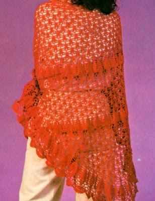 Lavori Con Luncinetto Scialle In Cotone Rosso Paperblog