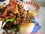 uomini ideali, Scallops with Lentils Salad Choco Pudding