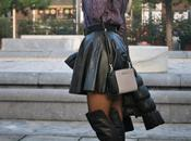 Black leather skirt over knee boots