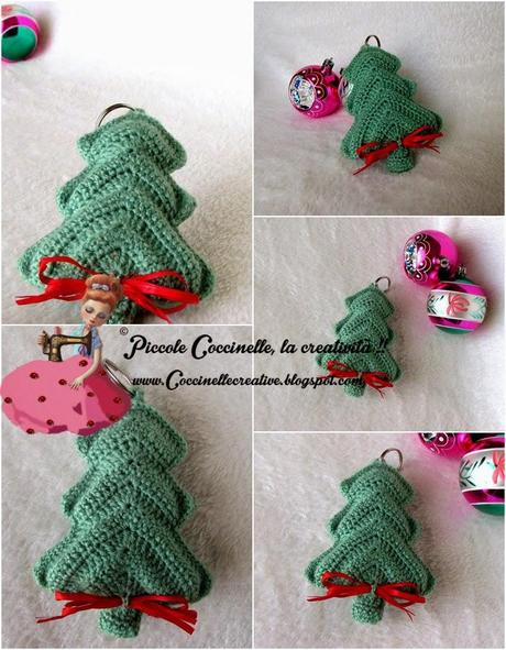 Ciondolo albero di natale realizzato a uncinetto for Addobbi natalizi all uncinetto
