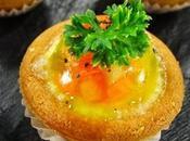 Piccole quiche prosciutto praga aspic verdure.