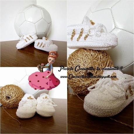 Scarpette Stile Adidas Bianco E Oro Realizzate A Uncinetto