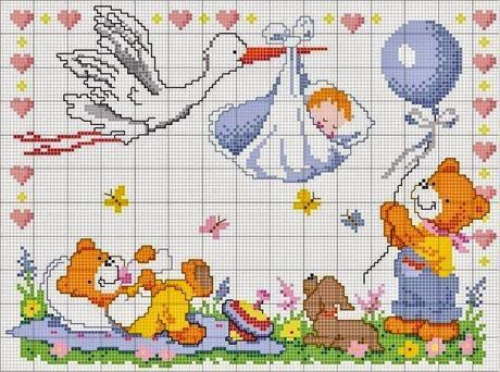 Schemi punto croce per bambini e neonati paperblog for Idee punto croce neonati