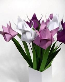 Mazzo Di Fiori Origami.Piegare Un Origami Fiore Di Tulipano Paperblog