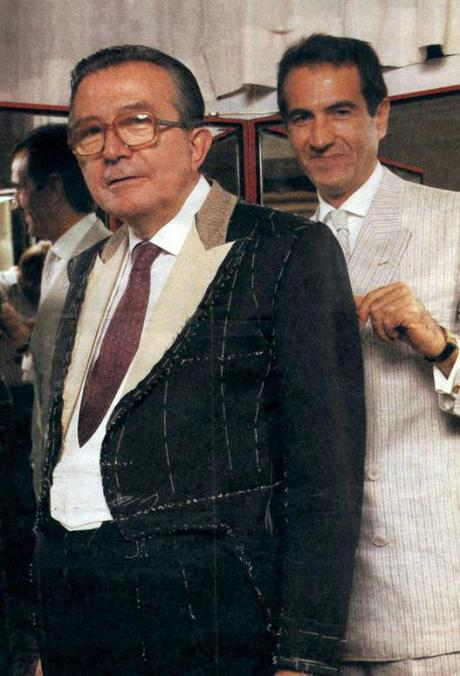 Franco on bespoke tailoring second fitting in Atelier with Mr. Giulio Andreotti