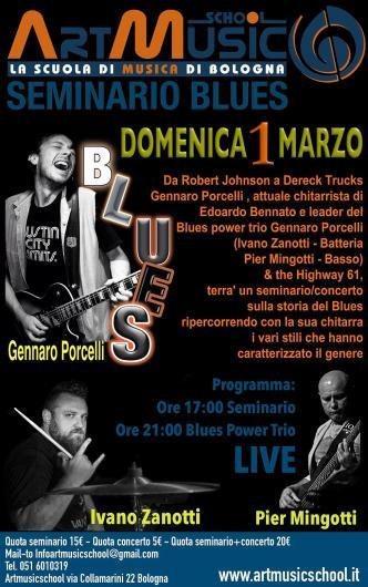 Gennaro Porcelli e Blues Power Trio a Bologna per seminario Blues e concerto