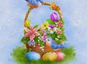 Quadretto punto croce cestino fiori, uccellino uova