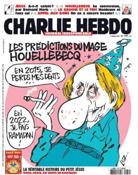 """""""Le predizioni del mago Houellebecq"""", recita la vignetta in copertina. """"Nel 2015 perdo i denti … nel 2022 faccio il Ramadan!"""""""