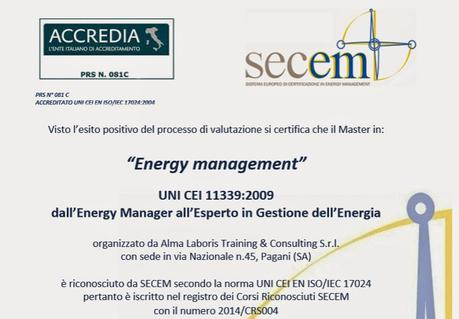 Master Energy Management – UNI CEI 11339:2009 - Professionisti dell'Energia