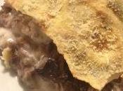 Lasagne pane Carasau, radicchio funghi.