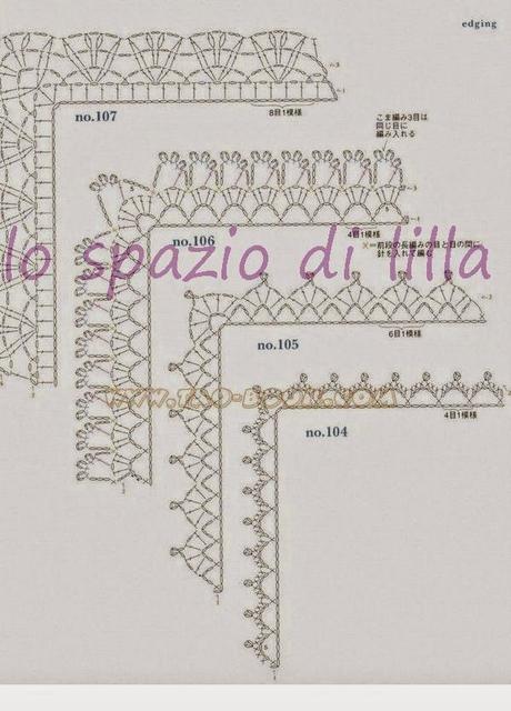 Schemi di bordi crochet con angoli utili per copertine e for Schemi bordure uncinetto per lenzuola