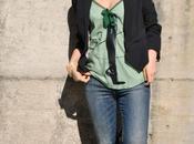 Outfit: pied-de-poule top, jeans black blazer