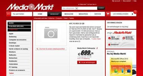 Media Markt HTC Flyer appare nel sito Mediaworld tedesco !