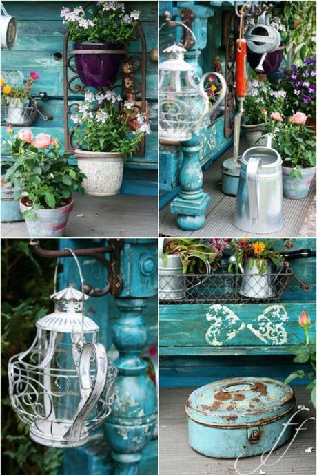 L arte del riciclo arredare un giardino in stile shabby - Arte e giardino ...