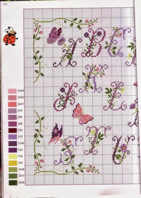 Schema alfabeto con fiori di lavanda e farfalle paperblog for Punto croce fiori e farfalle