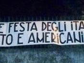 """PAVIA. Lotta Studentesca striscione anti aprile: """"Liberiamoci dall'influenza americana""""."""