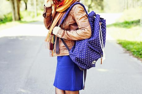 Eastpak, blue and brown look, outfit