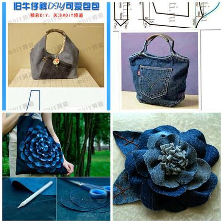 Fare una borsa con jeans riciclati paperblog for Borse fai da te jeans