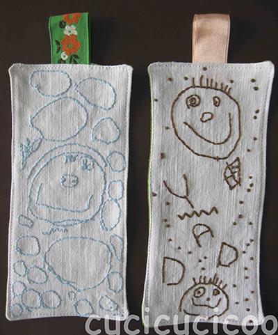 Segnalibri con i ritratti disegnati dai bambini ricamati sopra | un tutorial di www.cucicucicoo.com