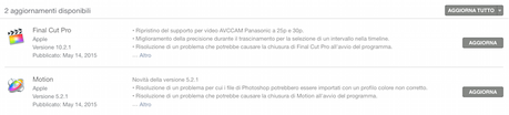 Apple aggiorna Final Cut Pro X e Motion 5